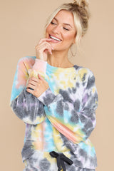 6 Just Sweet Enough Grey Multi Tie Dye Sweatshirt at reddress.com