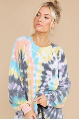 7 Just Sweet Enough Grey Multi Tie Dye Sweatshirt at reddress.com