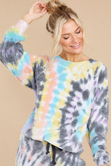 8 Just Sweet Enough Grey Multi Tie Dye Sweatshirt at reddress.com