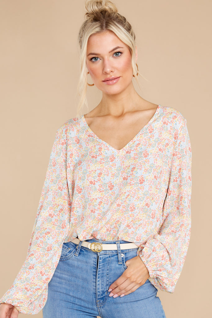 1 Pleasant Morning Peach Floral Print Bodysuit at reddress.com