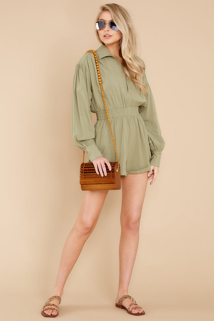 2 Your Best Adventure Light Moss Green Romper at reddress.com