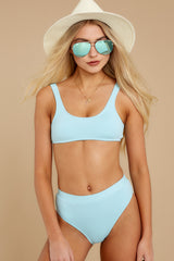 3 Feel The Sunshine Light Blue Bikini Bottoms at reddress.com