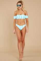 3 Never Want To Leave Island Blue Stripe Bikini Top at reddressboutique.com