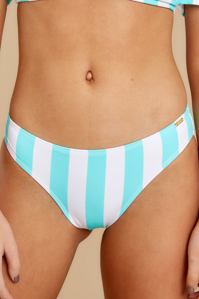 1 Low Tide Blue Multi Seaside Stripe Bikini Bottoms at reddress.com