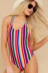 3 Promise Of Summer Love Rainbow Stripe One Piece Swimsuit at reddress.com