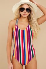 5 Promise Of Summer Love Rainbow Stripe One Piece Swimsuit at reddress.com