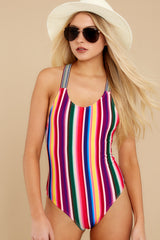 7 Promise Of Summer Love Rainbow Stripe One Piece Swimsuit at reddress.com