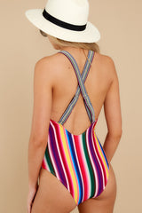 8 Promise Of Summer Love Rainbow Stripe One Piece Swimsuit at reddress.com