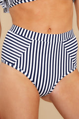 1 Beachy Keen Navy Stripe Bikini Bottoms at reddress.com