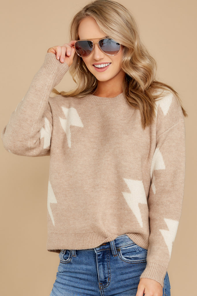 1 Last To Love Taupe Cowl Neck Sweater at reddressboutique.com