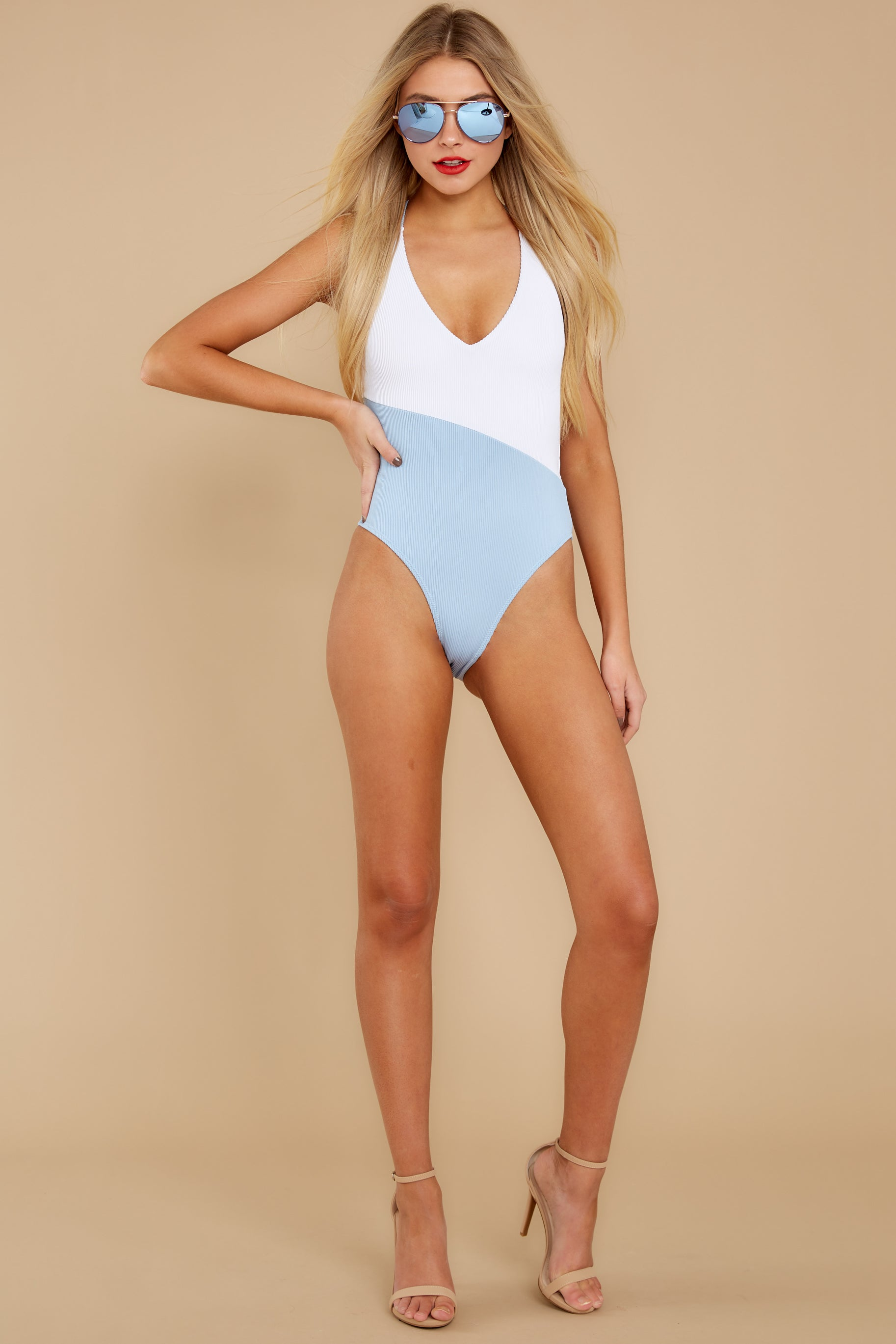 2 Put Two And Two Together Light Blue And White One Piece at reddressboutique.com