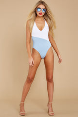 1 Put Two And Two Together Light Blue And White One Piece at reddressboutique.com