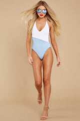 3 Put Two And Two Together Light Blue And White One Piece at reddressboutique.com