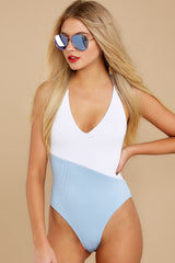 5 Put Two And Two Together Light Blue And White One Piece at reddressboutique.com