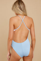 8 Put Two And Two Together Light Blue And White One Piece at reddressboutique.com