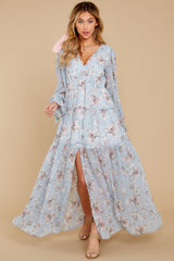2 Love In Bloom Light Blue Floral Print Maxi Dress at reddress.com