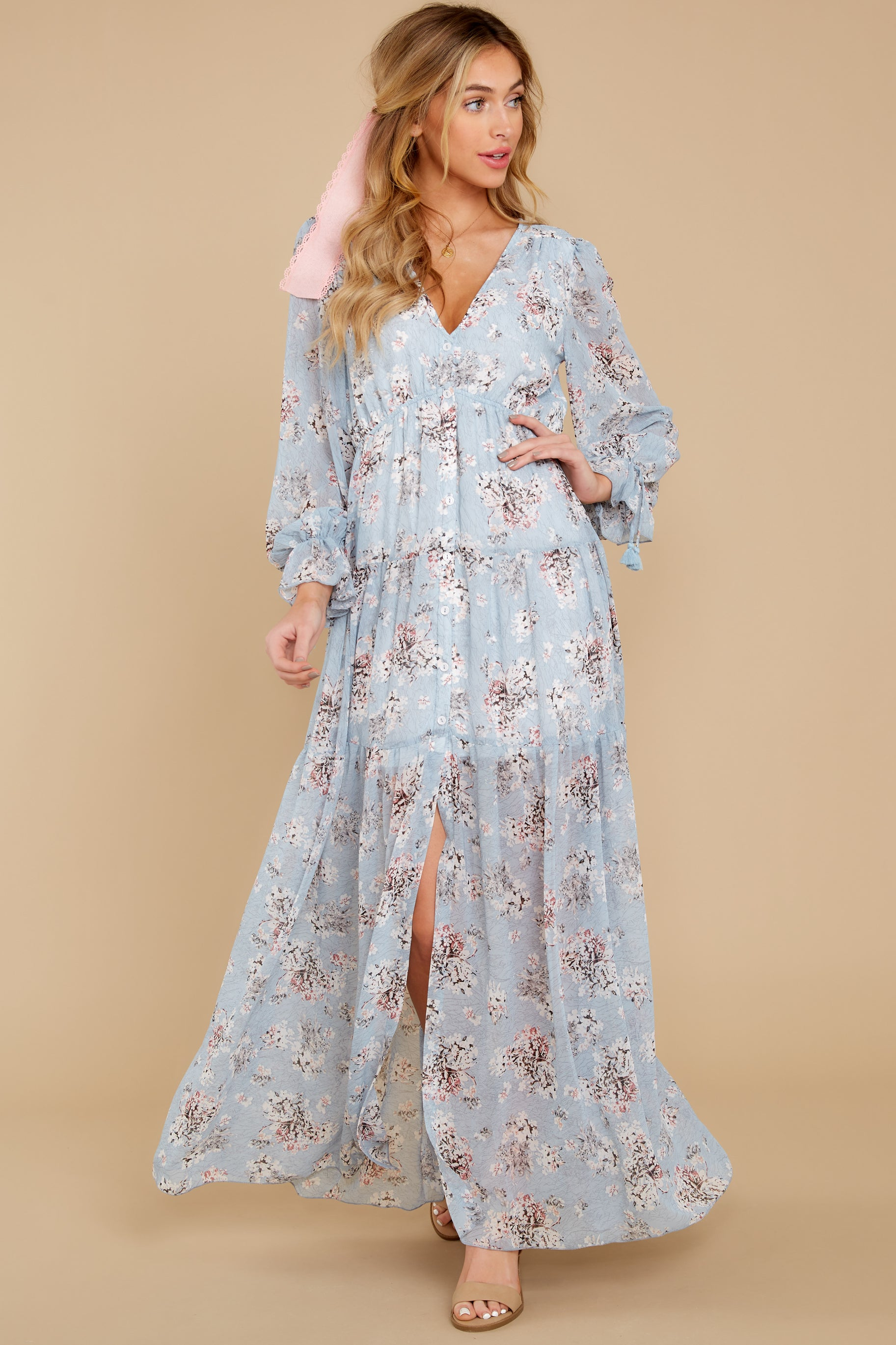 3 Love In Bloom Light Blue Floral Print Maxi Dress at reddress.com