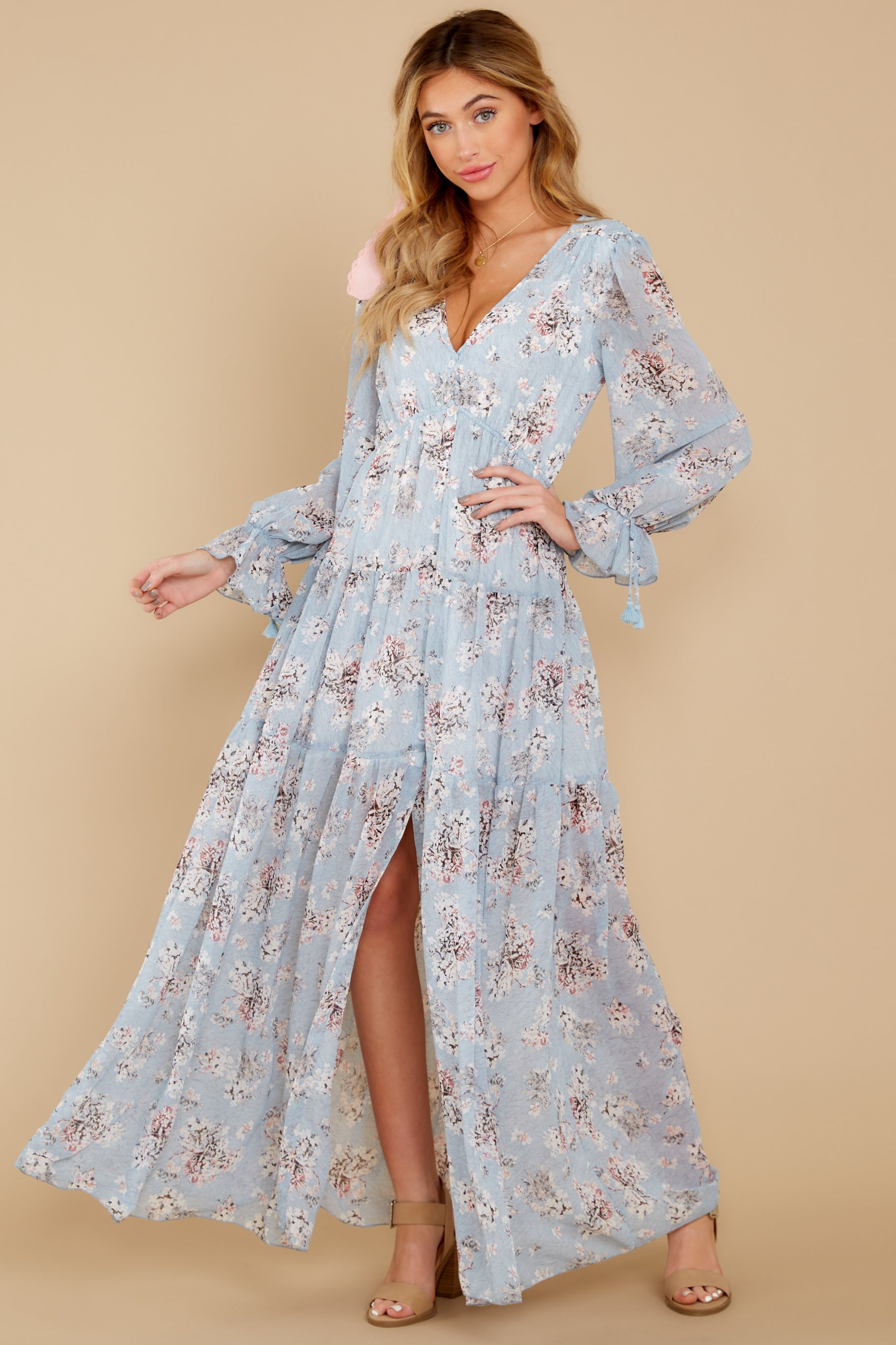 4 Love In Bloom Light Blue Floral Print Maxi Dress at reddress.com