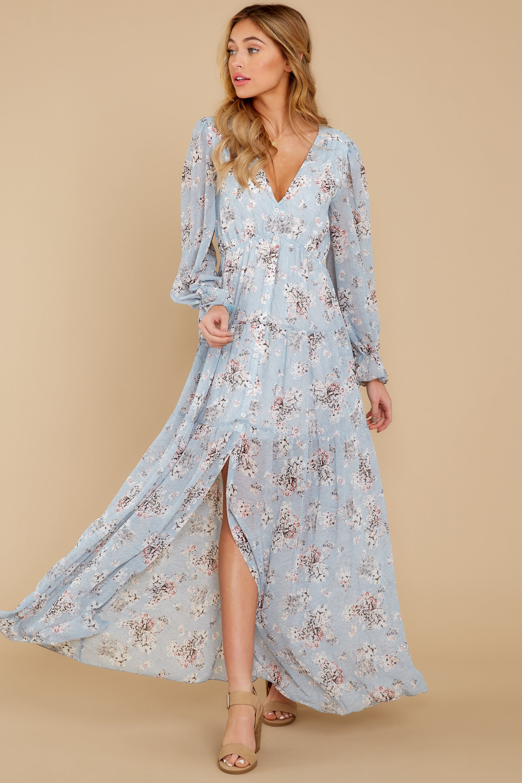 5 Love In Bloom Light Blue Floral Print Maxi Dress at reddress.com