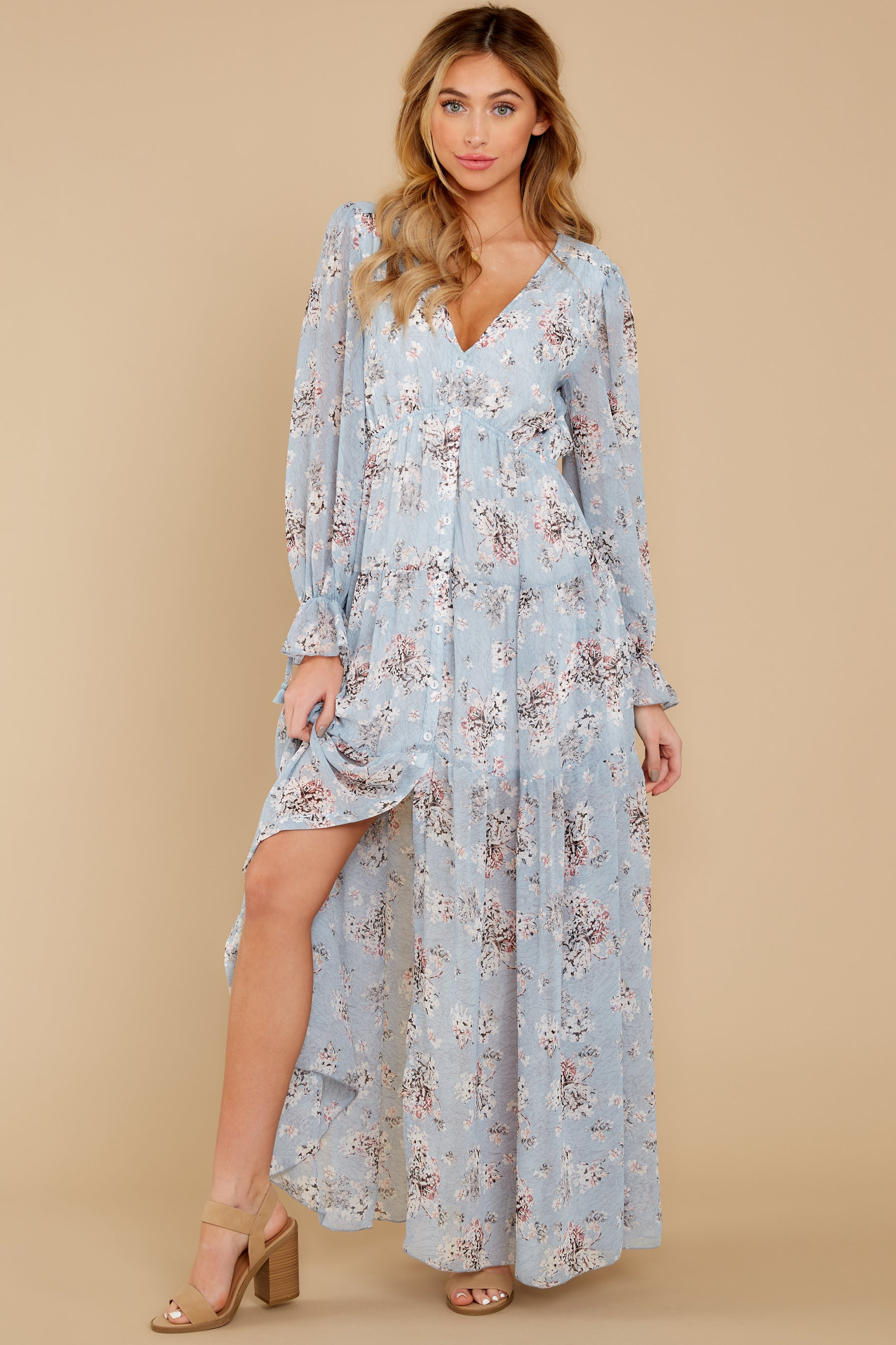 6 Love In Bloom Light Blue Floral Print Maxi Dress at reddress.com