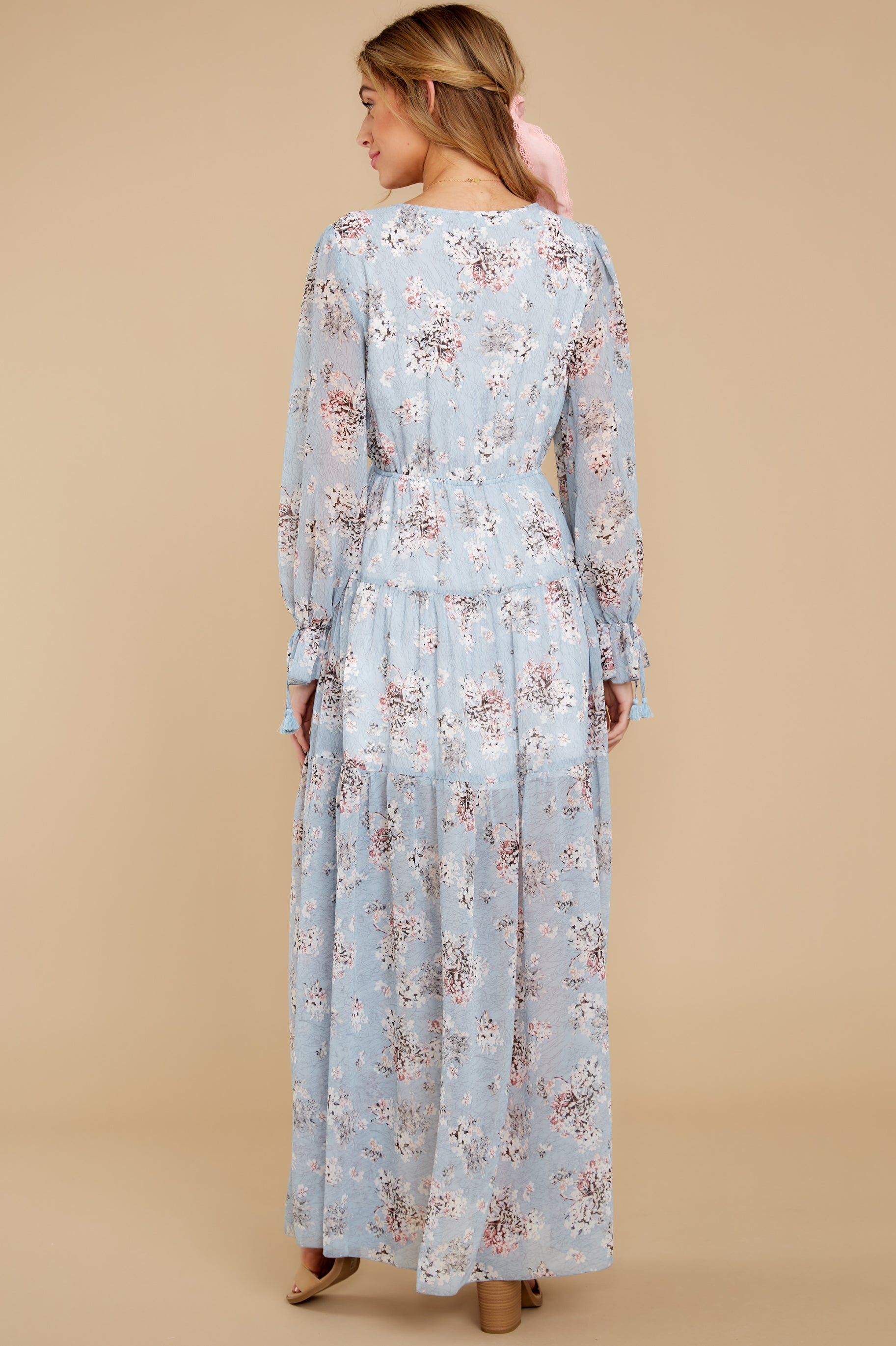 7 Love In Bloom Light Blue Floral Print Maxi Dress at reddress.com