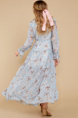 8 Love In Bloom Light Blue Floral Print Maxi Dress at reddress.com