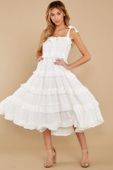 6 Never Say Never White Midi Dress at reddress.com