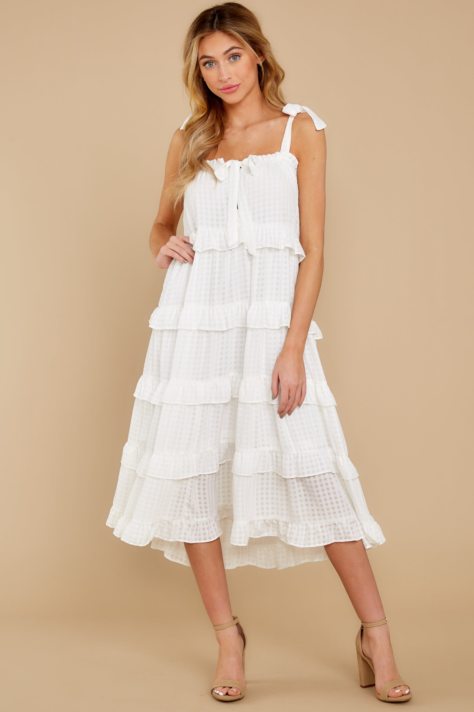 7 Never Say Never White Midi Dress at reddress.com
