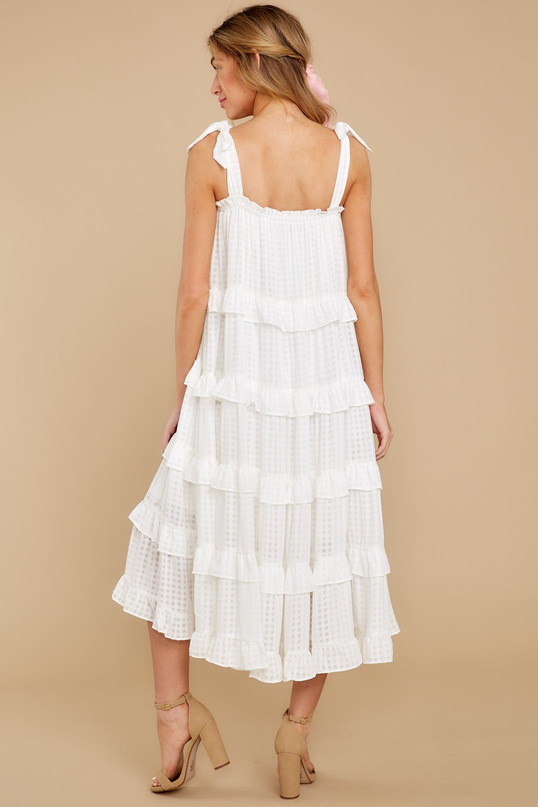 8 Never Say Never White Midi Dress at reddress.com