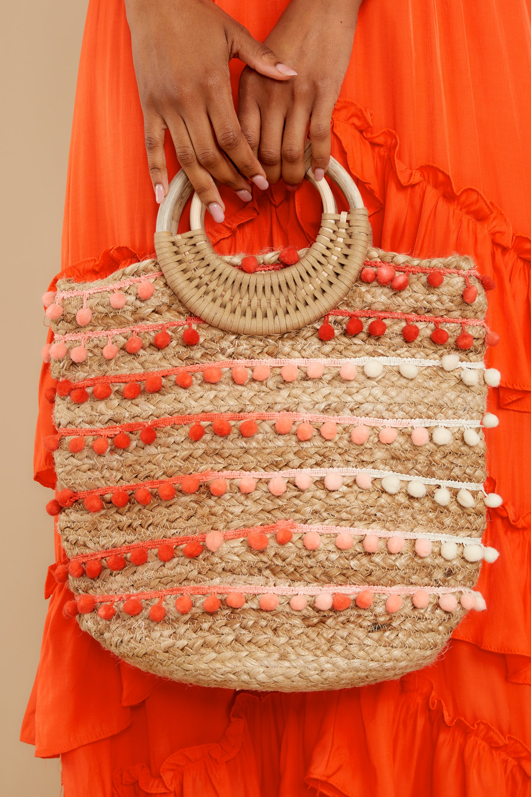 8 Infinite Options Pink Multi Pom Pom Handbag at reddress.com