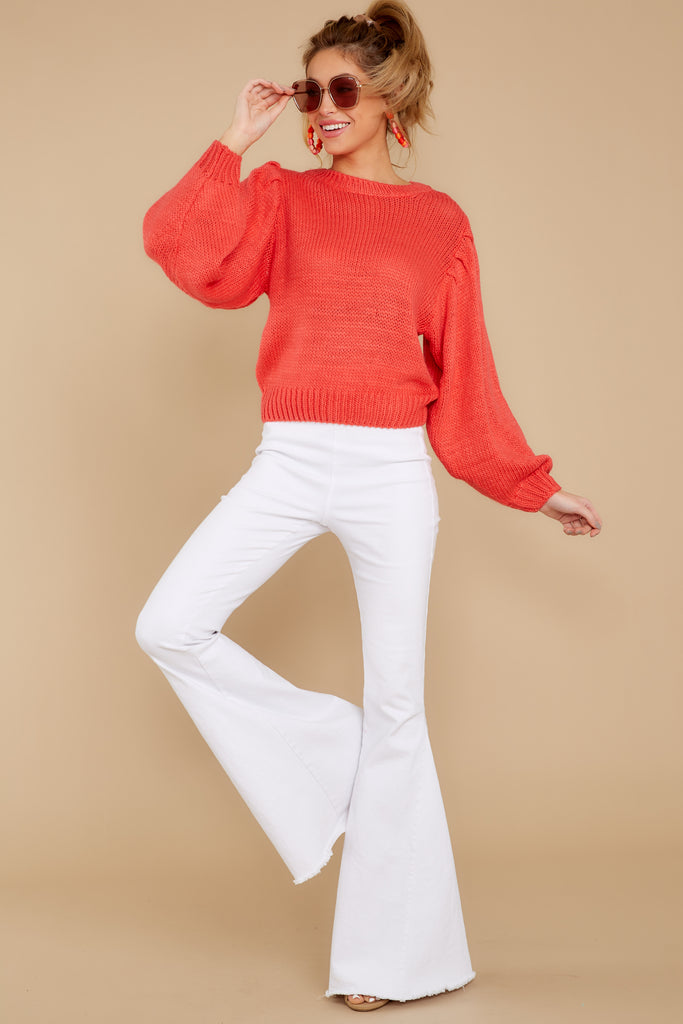 4 Doing My Best Coral Crop Sweater at reddressboutique.com
