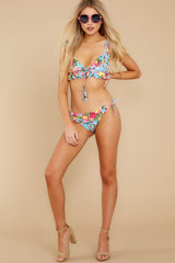 2 As Sweet As Sunshine Blue Floral Print Bikini Top at reddress.com