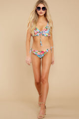 3 As Sweet As Sunshine Blue Floral Print Bikini Top at reddress.com