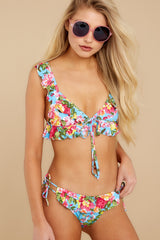 1 As Sweet As Sunshine Blue Floral Print Bikini Top at reddress.com
