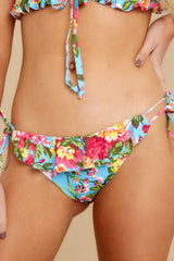 1 Cause A Splash Blue Floral Print Bikini Bottoms at reddress.com