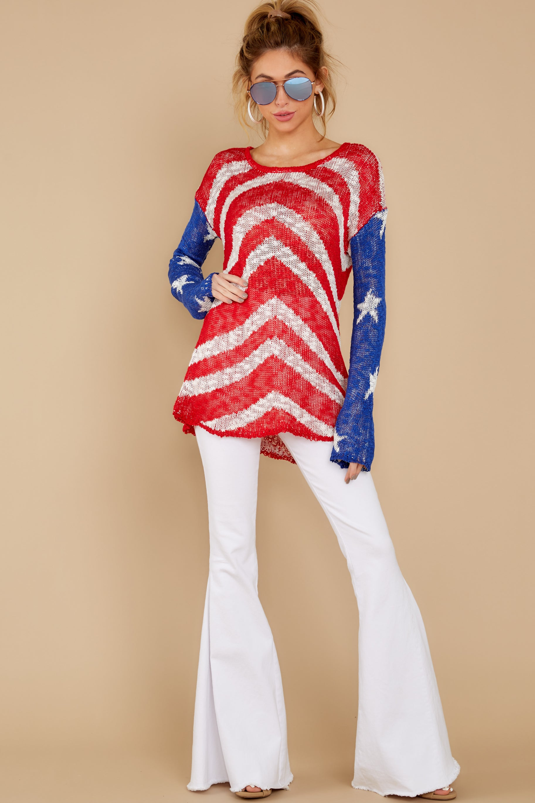 6 Independence Way Red Print Sweater at reddress.com