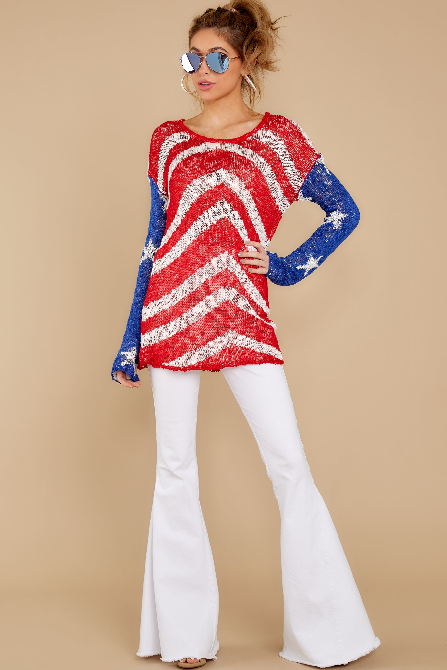 7 Independence Way Red Print Sweater at reddress.com