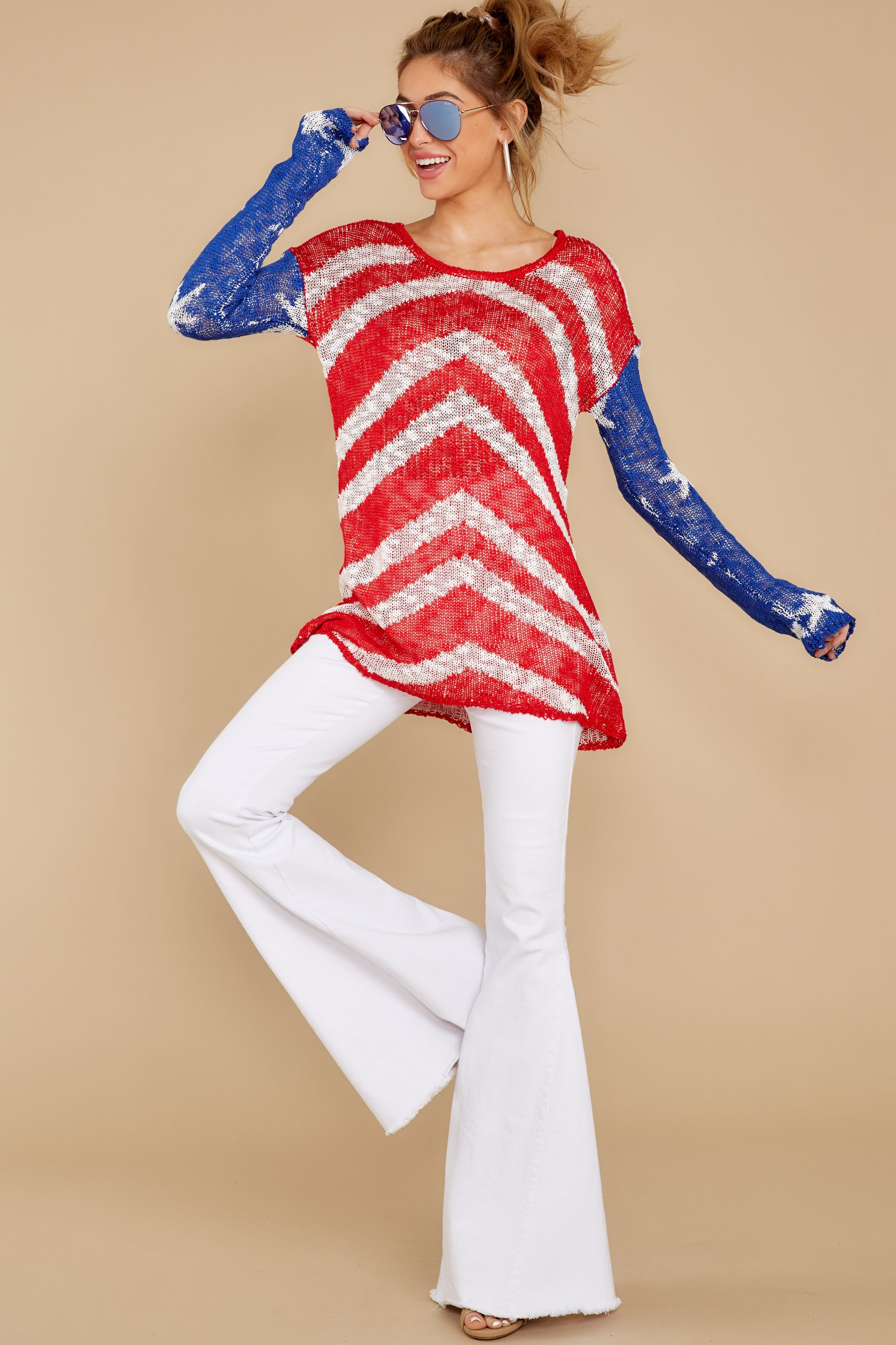 1 Independence Way Red Print Sweater at reddress.com