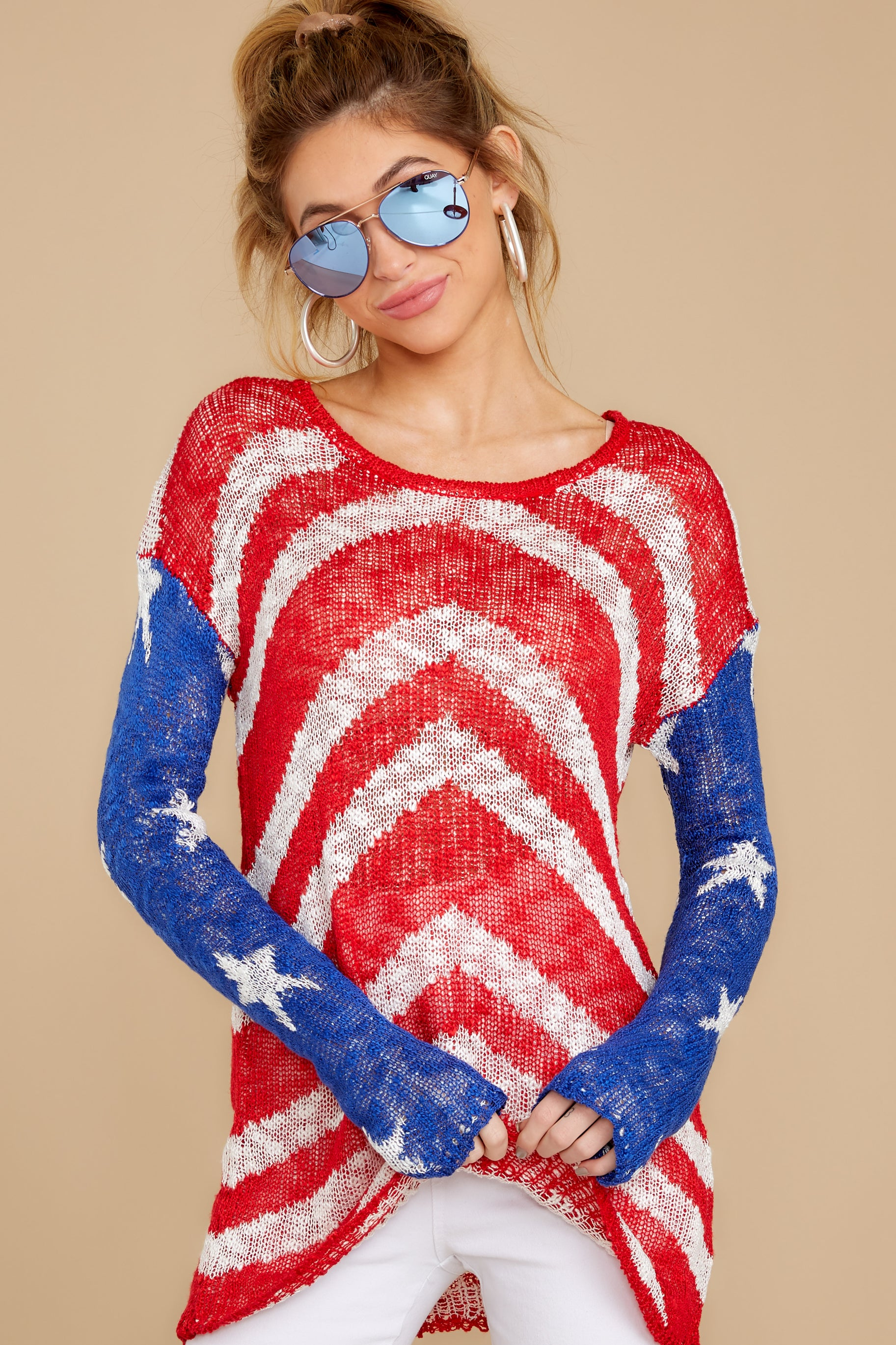 2 Independence Way Red Print Sweater at reddress.com