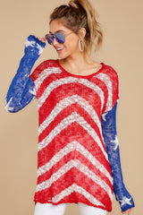3 Independence Way Red Print Sweater at reddress.com