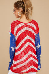 8 Independence Way Red Print Sweater at reddress.com