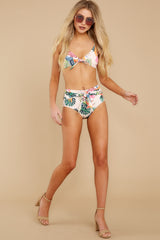 4 Beach Beauty Ivory Tropical Print Bikini Top at reddressboutique.com