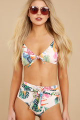 6 Beach Beauty Ivory Tropical Print Bikini Top at reddressboutique.com