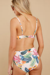 8 Beach Beauty Ivory Tropical Print Bikini Top at reddressboutique.com