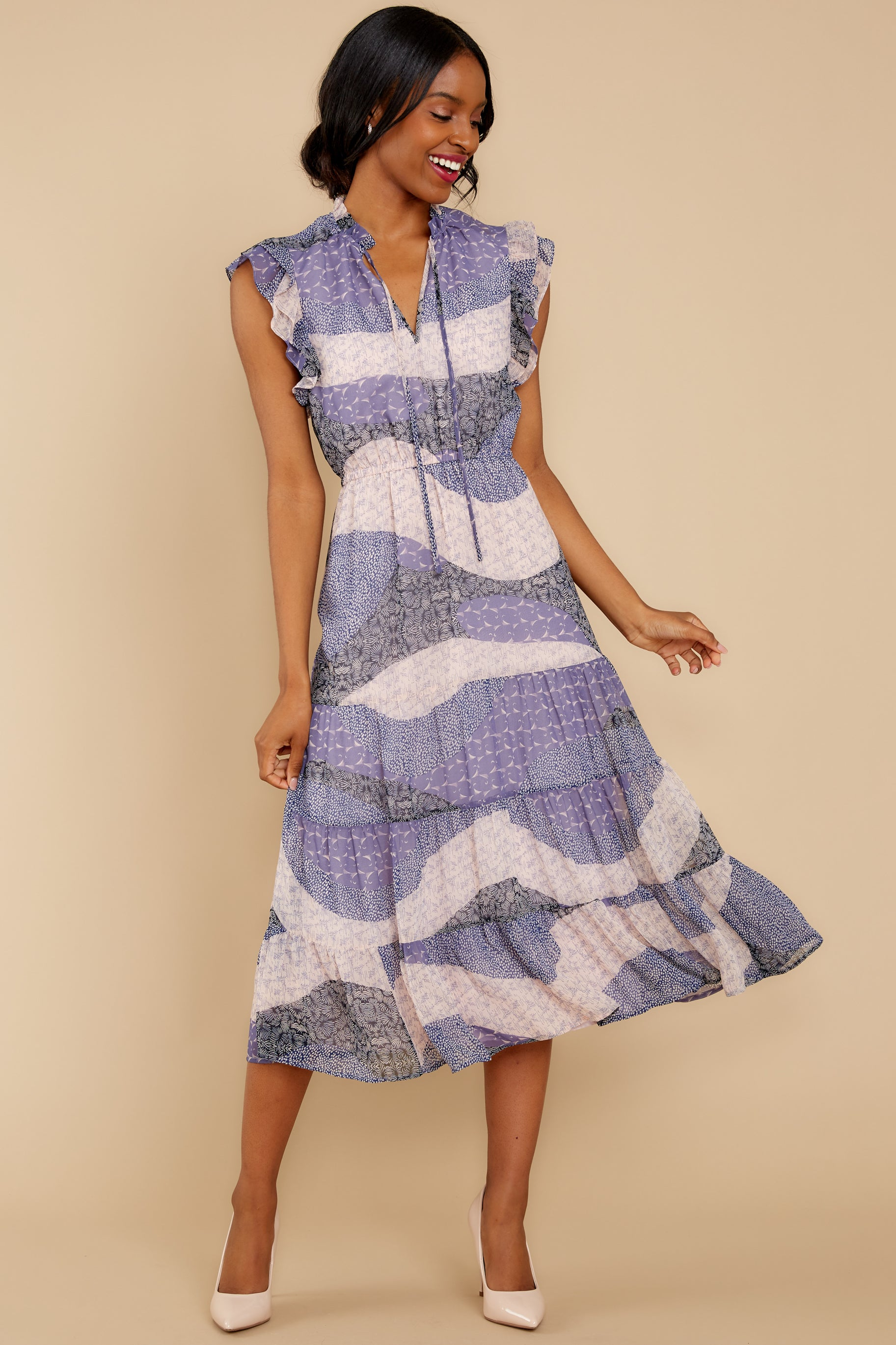 1 Mixed Feelings Lavender Multi Print Midi Dress at reddressboutique.com