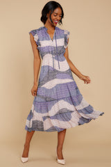 3 Mixed Feelings Lavender Multi Print Midi Dress at reddressboutique.com