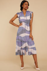 5 Mixed Feelings Lavender Multi Print Midi Dress at reddressboutique.com