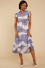 6 Mixed Feelings Lavender Multi Print Midi Dress at reddressboutique.com