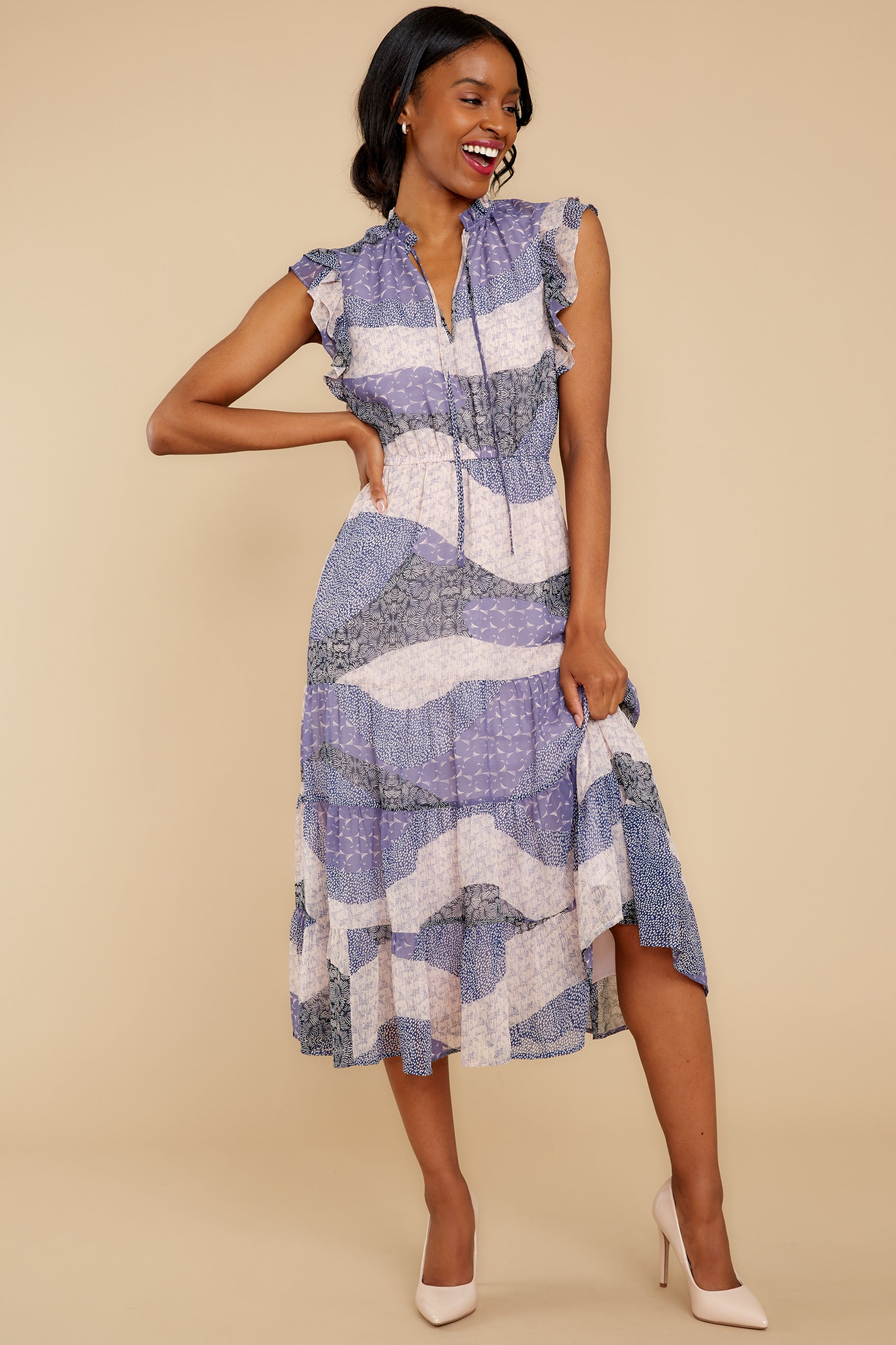 7 Mixed Feelings Lavender Multi Print Midi Dress at reddressboutique.com