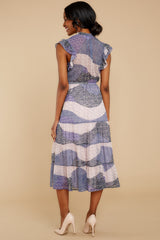 8 Mixed Feelings Lavender Multi Print Midi Dress at reddressboutique.com
